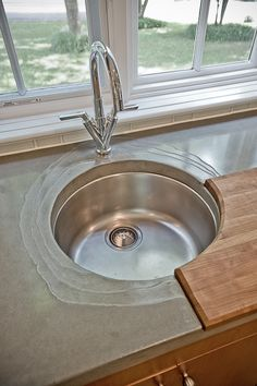 Sink & Cutting Board Cement Counter, Concrete Countertops, Counter Tops, Building Design, Sink, Countertops, Vanity Tops, Vessel Sink, Concrete Overlay Countertops