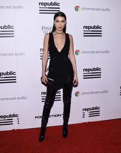 Pin for Later: Catch the Best Style Moments From the Grammys Afterparties Bella Hadid In Mugler.