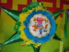 "PINATA Pocoyo /Piñata Hand Crafted 26x26x12[Holds 2-3 Lb. Of Candy][For Any Occasion] by Pinetera. $32.99. This Pinata measures:   Length= 26""   Height= 26""   Width=  12""  Hand Crafted Beautifully Detailed Traditional Cone Star shaped Piñata /Pinata with opening on top for stuffing candy's, toys and other items of your choice.  Pinata is Sturdy enough to hold 2-4 pounds of goodies.  This is the real thing, not a table decoration with strings for yo..."