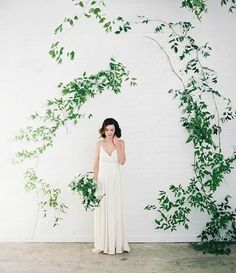 organic wedding ceremony backdrop idea