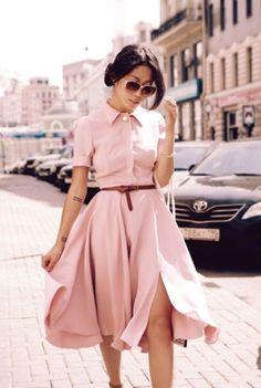 vestido midi rodado rosa