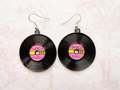 Items similar to Record earrings seventies theme party accessories disco musics retro earring pink jewelry theme party earrings oldies but goldies on Etsy Diy Clay Earrings, Funky Earrings, Polymer Clay Jewelry, Cute Jewelry, Jewelry Accessories, 60s Jewelry, Selling Jewelry, Jewelery, Creations