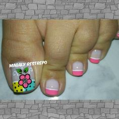 ❤❤ French Pedicure, Toe Nail Color, Pretty Toes, Flower Nails, Creative Nails, Toe Nails, Nail Designs, Lily, Nail Art