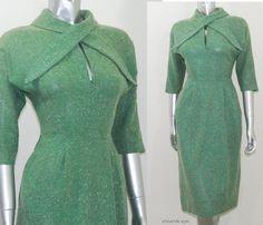 vintage 1940s dress/ vintage green dress/ 40s green wool dress