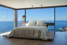 Bedroom view in Romantic home above the ocean, California