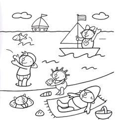Kleurplaat Pompom: op het strand