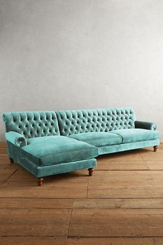 Slub Velvet Fan Pleat Sectional | Anthropologie, modern chic or vintage blue, sea foam green, seafoam green, teal, aqua color couch for living room or family room seating
