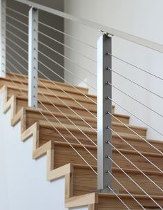 Project # 262 - Cable Railing Contest Winner - StairStupplies™ This project won the 2017 Summer Completed Project Contest. The customer took photos displaying her stainless steel cable railing system's beauty. Outdoor Stair Railing, Modern Stair Railing, Balcony Railing Design, Modern Staircase, Staircase Design, Staircase Ideas, Railing Ideas, Stainless Steel Stair Railing, Cable Stair Railing