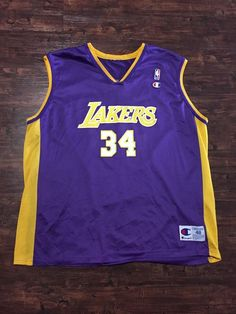 c1dd944fda4d Shaquille O neal  34 Los Angeles Lakers Champion Jersey Vintage  NBA Shaq  Mens
