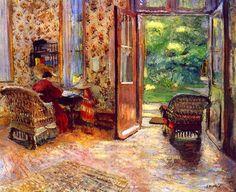"Edouard Vuillard ""L'Entrée du Jardin"" 1903     It is good to have a letter-writing station."