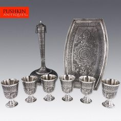 ANTIQUE 20thC PERSIAN ISLAMIC SOLID SILVER HUGE JUG & GOBLETS ON A TRAY c.1940