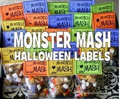 Halloween MONSTER MASH Treat Bag Topper Label - Digital files