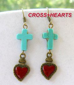 Sacred Heart Turquoise crosses earrings SOUTHERN COUNTRY GIRL TexMex Rodeo style #Handmade #DropDangle