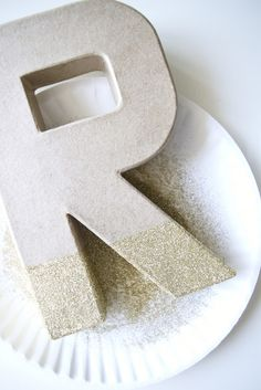 DIY glitter dipped monogram door logo