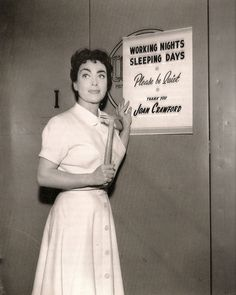 """Joan Crawford the set of Autumn Leaves, """"Working nights. Please be Quiet. Thank you, Joan Crawford"""" Old Hollywood Stars, Golden Age Of Hollywood, Vintage Hollywood, Hollywood Glamour, Hollywood Actresses, Classic Hollywood, Actors & Actresses, Joan Crawford Children, Adrienne Ames"""