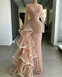 Cheap Evening Dresses, Buy Directly from China Suppliers:Couture Mermaid Formal Evening Dresses With Long Sleeves Handmade Beaded Crystal Tulle Illusion Party Gown For Weddings 2018 Long Sleeve Evening Gowns, Prom Dresses Long With Sleeves, Formal Evening Dresses, Elegant Dresses, Pretty Dresses, Dress Long, Peach Prom Dresses, Bridesmaid Gowns, Gowns With Sleeves