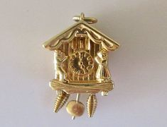 Weather Vane Clock Moving Gold Charm
