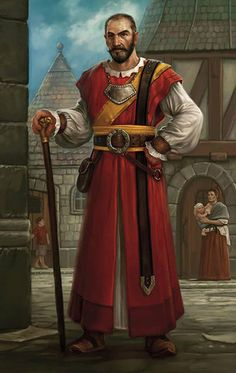 City politician or magus, red robes and walking staff