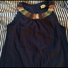 Cute navy blue summer dress A bit short for me. Never worn. New without tag. Size small Ella Moss Dresses