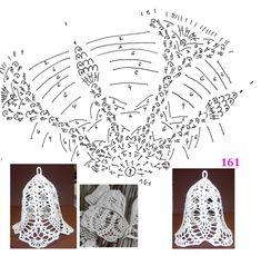 zvoneček 137, 161 Christmas Charts, Crochet Christmas Ornaments, Holiday Crochet, Crochet Snowflakes, Thread Crochet, Filet Crochet, Crochet Doilies, Christmas Bells, Christmas Cross