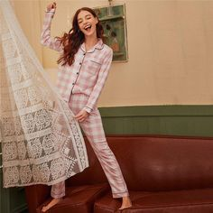 Women's Casual Polyester Long-Sleeved Nightwear With Print | ZORKET | Material: Polyester, Spandex • Length: Full Length • Style: Casual • Collar: Turn-Down Collar • Type: Plaid, Pajamas • Material: Polyester • Obscene Picture: No