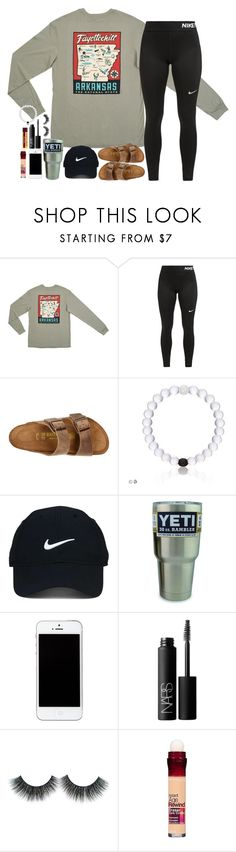 """Home sweet home☺️❤️"" by southernstruttin ❤ liked on Polyvore featuring NIKE, Birkenstock, Nike Golf, NARS Cosmetics and Maybelline"