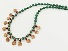Green aventurine and red wine garnet with copper by LenaMer