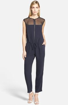 Bailey 44 'Jane' Sheer Yoke Sleeveless Jumpsuit available at #Nordstrom