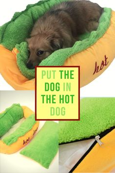 "Say ""No!"" to the boring dog beds and get the Hot Dog for your super pet"