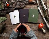 Cahier de la forêt avec un motif sculpté - épinette - set de 3 portable (petite taille)