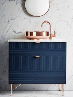 IKEA hack: blue bathroom vanity using IKEA cabinet + Superfront accessories