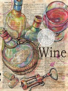 "Wine Mixed Media Drawing on 9"" x 12"" Antique Dictionary - flying shoes art studio"
