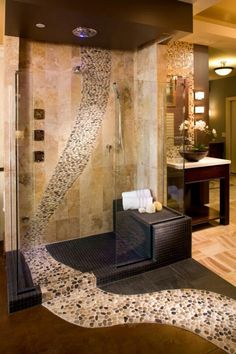 65+ Bathroom Tile Ideas |  Showcase of Art & Design - Nice tile flow.....