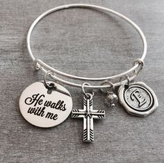 He walks with me, Cross Jewelry, Faith, Scripture, Spiritual quote, Religious, Christian, Bible Verse, Quote, Silver Jewelry, Charm Bracelet by SAjolie, $24.75 USD