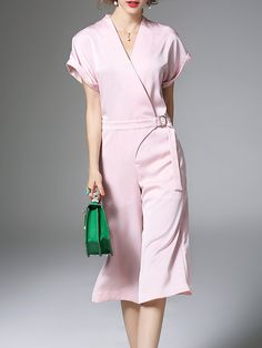 Work Short Sleeve Polyester Plain Jumpsuit Stylewe