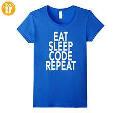 Eat Sleep Code Repeat T-Shirt Gift For Programmer Coding Damen, Größe L Königsblau (*Partner-Link)