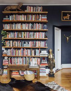 Floor to ceiling floating shelves