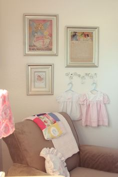 shabby chic nursery ideas - Some great ideas here.    Note to self: use existing frames, spray paint all 1 color, then frame nursery book prints