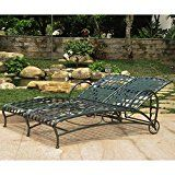 International Caravan Santa Fe Wrought Iron Double Multi Position Chaise Lounge   Dimensions: 73L x 52W x 14.5H in. Made from durable wrought iron Choose from available powder coated finishes 5 positions for maximum comfort Weatherproof rust protection  With room for two, the International...