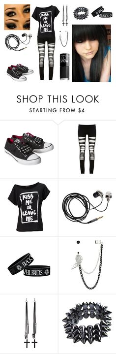 School Outfit by natsuko-yuuki on Polyvore featuring Maurie & Eve, Converse, Poizen Industries, Charlotte Russe, Red Herring, Maybelline and Friis & Company