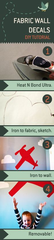 Large custom wall decals are expensive! But you can make your own fabric decal to add color and texture to any room– and yes, they're removable! Brilliant!!