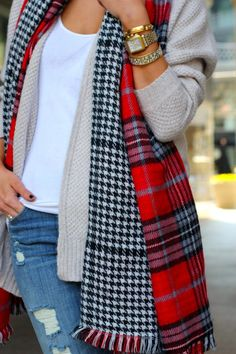 two-tone scarf + houndstooth + plaid