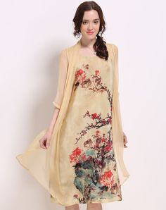 #VIPme Apricot Silk Floral Mock Two Piece Shift Dress ❤️ Get more outfit ideas and style inspiration from fashion designers at VIPme.com.
