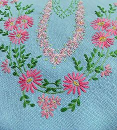 Hand-embroidered tablecloth | Peony and Thistle