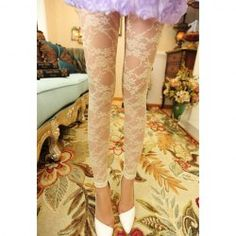 $5.68 Charming See-Through Jacquard Lace Leggings For Women