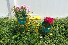 """We are slowly but surely getting our yard ready for grass, but all I want to think about is yard decor! My mom has a beautiful yard and recently added some adorable yard decor that she spiced up with a little DIY work and some spray paint! I love it because it adds some fun … Continue reading """"Yard Decor With Pops of Color"""" #yard #decor #landscaping #color #Summer  #DIY"""