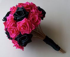 Punk Rock Bride Hot Pink and Black Ribbon Rose by MKissaCreations, $75.00..... Must do! Maybe in 1 in purple & 1 in teal