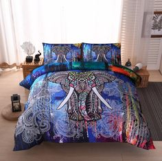2018 Bohemian Style Color Elephant print Duvet Cover Set,2/3pcs Single Double Queen King Bedding Sets (No Sheet No Filling). Yesterday's price: US $69.00 (56.17 EUR). Today's price: US $38.64 (31.36 EUR). Discount: 44%.