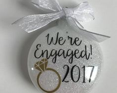 Engagement Ornament / We're Engaged Ornament / Wedding Ornament / Personalized Ornament