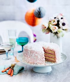 Australian Gourmet Traveller recipe for coconut and berry layer cake from Beatrix, Melbourne.